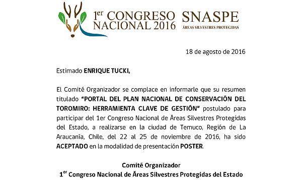 Portal del toromiro se presentará en el 1er Congreso Nacional de ASP