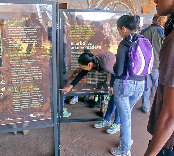 La exposición en la Aldea Educativa de Rapa Nui
